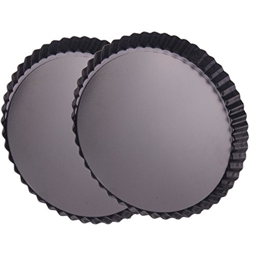 Ancdream 6 inches dia. Non Stick shallow round pan/quiche & pie & tart pan, removable bottom, pack of 2 - Fat Daddios Fluted Tart