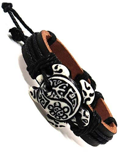 (Sea Turtle Bracelet with Indian Symbols Engraved-Turtle with Coqui Taino and Indian Sun-Hawaiian Sea Turtles Leather Bracelet (Black Leather - White Turtle Taino))