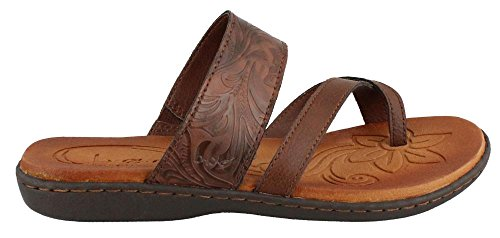 b.o.c Women's Bellisi Coffee Tooled Leather Sandals 9 B(M) US