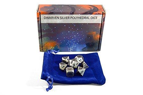 Iron/Silver Metal DnD Dice Set (7) - D6, D8, D10, D12, D20, D Percent - Includes Carrying ()