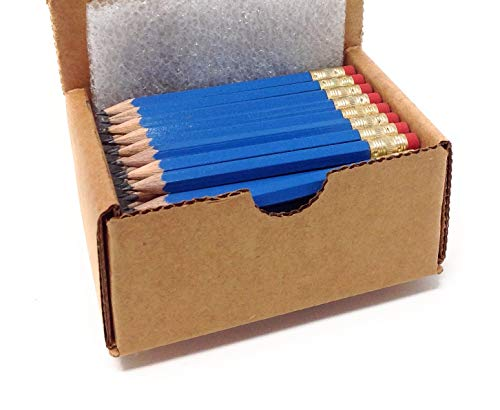Half Pencils with Eraser - Golf, Classroom, Pew, Pocket -#2 Hexagon, Sharpened, (Box of 48). Color Choice: (Blue)
