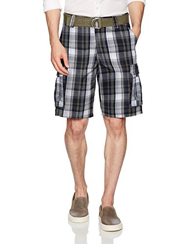 (LEE Men's Dungarees New Belted Wyoming Cargo Short, Navy Munro Plaid, 42)