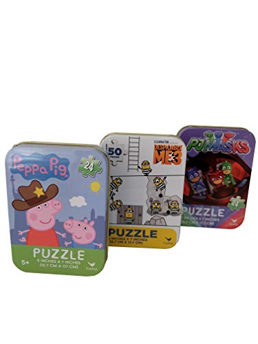 3 Collectible Mini Jigsaw Puzzles in Illustrated Travel Tin Cases: Featuring Popular Cartoon Characters Gift Set Bundle (24/50 Pieces)