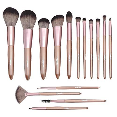 FIXBODY Makeup Brush Sets - 15PCS Wood Handle Soft Synthetic Fiber Hair Kabuki Powder Blush Liquid Eyeliner Eyeshadow Lip Eyebrow Brush (Champaign ()