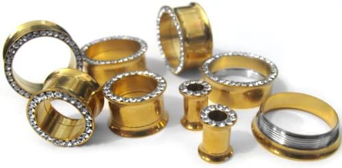 Sold by Pair Freedom Fashion Multi-Gemmed Rim Gold IP Over 316L Surgical Steel Screw Fit Tunnel