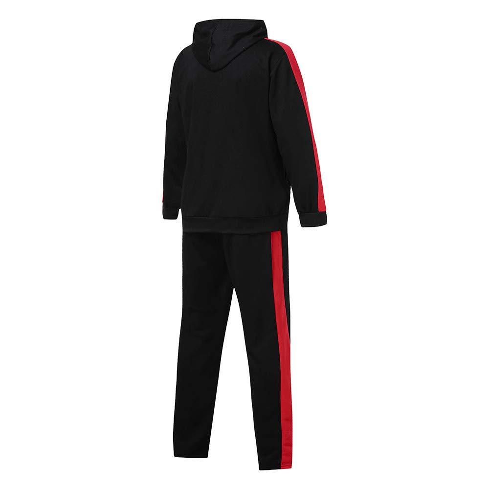 Limsea Men's Autumn Winter Patchwork Hoodie Sweatshirt Top Pants Sets Suit Tracksuit(Black,M) by Limsea Men Blouses (Image #5)