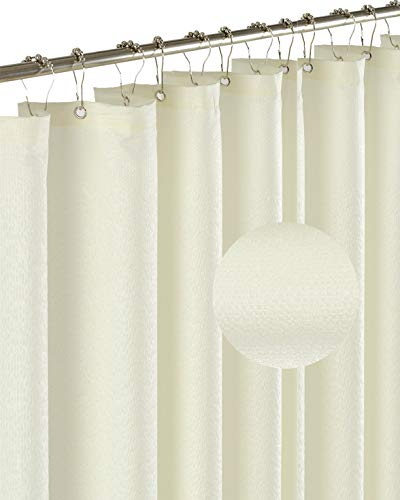 Barossa Design Soft Microfiber Fabric Shower Liner or Curtain with Embossed Dots, Hotel Quality, Machine Washable, Water Repellent, Cream, 70 x 72 inches