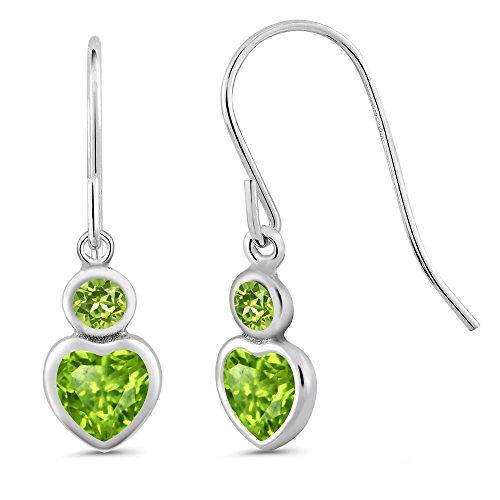 Gem Stone King 1.26 Ct Heart Shape Green Peridot 925 Sterling Silver Earrings ()