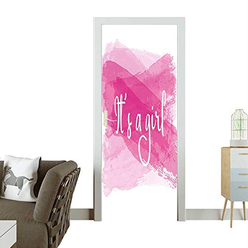 Door Sticker Girls Baby Shower Family sy Sketch Hot Pink White Removable Door Decal for Home DecorW31 x H79 INCH for $<!--$39.99-->