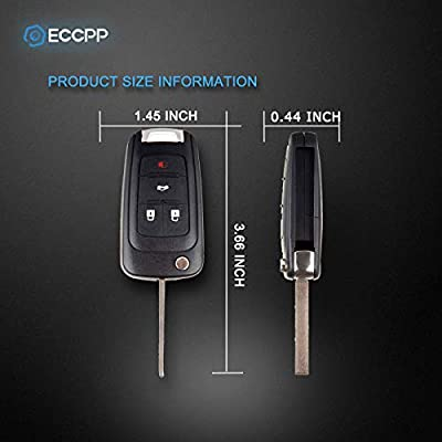 ECCPP Replacement fits for Uncut Keyless Entry Remote Key Fob 2010-2016 Chevrolet Camaro/Chevrolet Cruze/Chevrolet Equinox/Chevrolet Malibu OHT01060512 (Pack of 2): Automotive