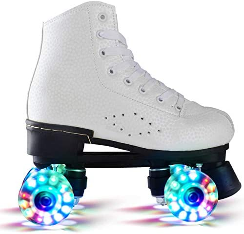 Double Roues Skate Flashing Chaussures Flash Chaussures de Patinage Roller Red Hot Roller Skates Femme Homme,Color 2,45