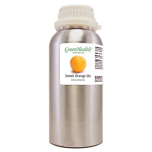 GreenHealth Sweet Orange – 16 fl oz (473 ml) Aluminum Bottle w/Plug Cap – 100% Pure Essential Oil
