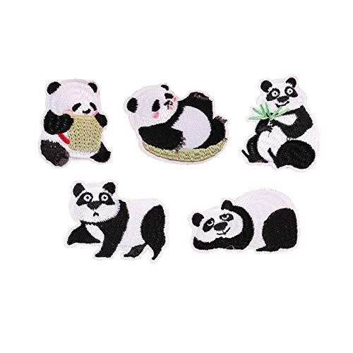 SOUTHYU 5 Pieces Iron On Patches for Clothing Repair - Embroidered Cute Panda Decorative Motif Appliques Badge Sew On Emblem for DIY Clothing Jeans Jacket Backpack Hat Dress Shoes (Panda Iron)