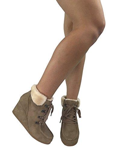 Città Classificata Da Donna In Eco-pelliccia Con Polsino Alla Caviglia Bootie Con Zeppa Occhielli Allacciati Stivali Caldi Lt. Taupe