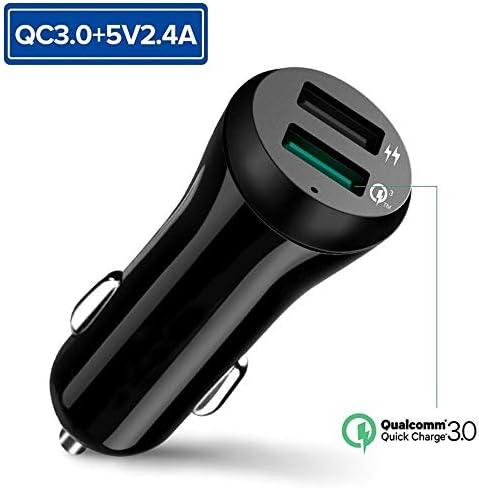 車の充電器、USB 3.0カーバッテリー充電器、USB 3.0車の充電アダプタ電話XR XSマックス小米科技華為電話の充電器車のシガーライター用 Charger (Plug Type : QC3.0 and 5V2.4A)