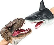 Gemini&Genius Shark and T-Rex Hand Puppet for Kids Soft Rubber Realistic Great White Shark Tyrannosaurus A