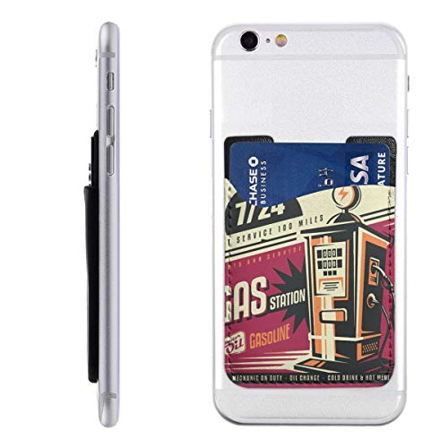 - Card Holder for Back of Phone -Retro Poster Design for Gas Pump Silicone Stick On Cell Phone Wallet with Pocket for Credit Card, ID, Business Card