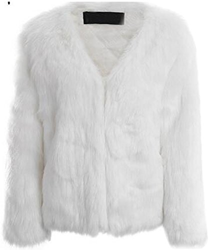 Chouyatou Women's Fashion Collarless V-Front Quilted Lined Faux Fur Outerwear Coat (White, Medium) by Chouyatou (Image #1)