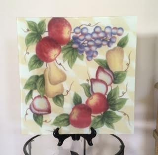 Block Crystal Argyle Fruit Painted Inch Square Bowl Platter