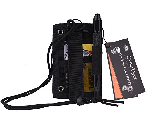 CyberDyer Military Enthusiasts Tactical ID Card Pen Pouch Holder with Adjustable Neck Lanyard (Black) - Badge Neck Knife