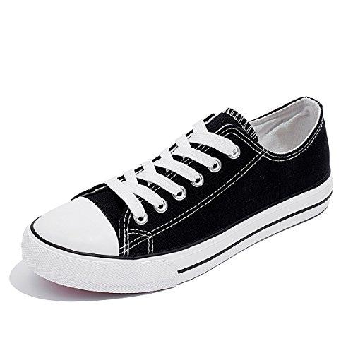 Sneakers In Tela Moda Donna Aomais Scarpe Stringate Basse In Pizzo Nero1