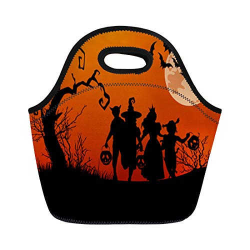 Semtomn Lunch Tote Bag Orange Halloween Silhouettes of Children Trick Treating in Costume Reusable Neoprene Insulated Thermal Outdoor Picnic Lunchbox for Men -