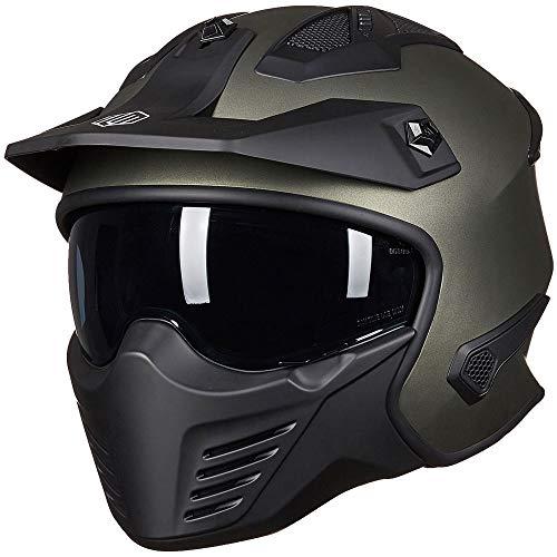 ILM Open Face Motorcycle 3/4 Half Helmet for Moped ATV Cruiser Scooter DOT (Midnight Green, L)