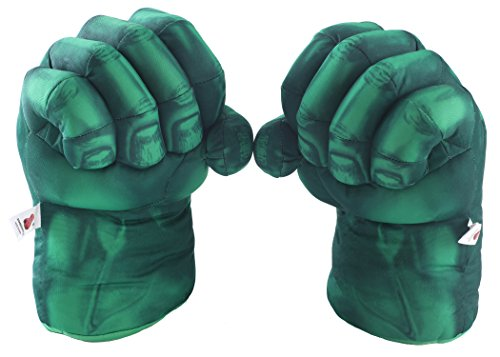 Fairzoo Hulk Smash Hands Fists Big Soft Plush Gloves Pair Costume Green -
