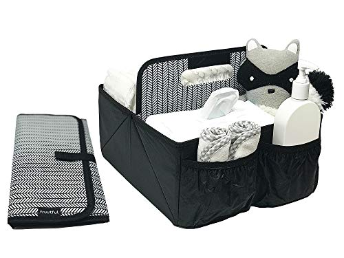 Baby Diaper Caddy and Car Organizer for Accessories: Large Portable Boy or Girl Nursery Storage Bin for Changing Table with Changing Pad: Baby Registry Shower Gift: Baby Stuff