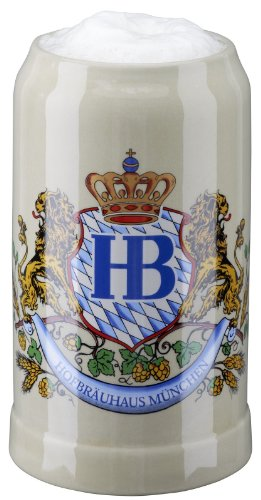 - Hofbrauhaus Munich Lion Crest Stoneware German Beer Mug 1L Munchen Oktoberfest