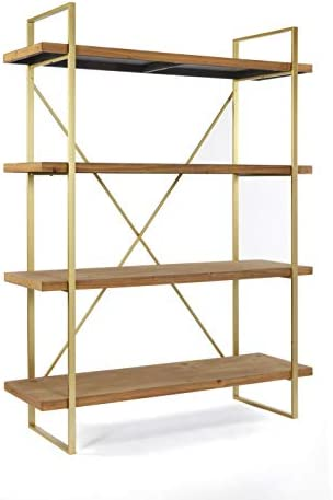 Statements By J 6b2083 47l Emma Etagere Wooden Bookshelf With 4 Shelves 47 Inch Wide Brown And Gold Home Kitchen Amazon Com