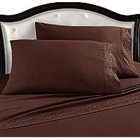 Melocotton Juego de Sábana Matrimonial de Microfibra Premium, Ultra Suave con Funda Bordada, para Colchones de hasta 30 cm de Alto Bed Sheets