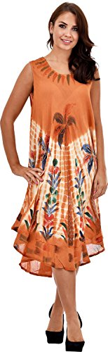 Nightingale Collection - Vestido - trapecio - Sin mangas - para mujer naranja