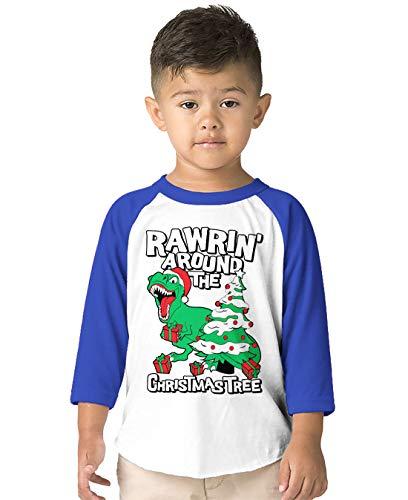 (SpiritForged Apparel Rawrin' Around The Christmas Tree Toddler 3/4 Raglan Shirt, Royal 2T/3T)