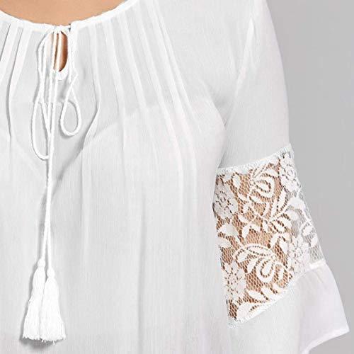 Fashion Manches 4 Elgante Femme Grande Dentelle pissure breal Haut Tops Blanc Rond 3 Blouse Bouffant Mousseline Shirt Chemise Taille Loisir Et Col wpPqtF5
