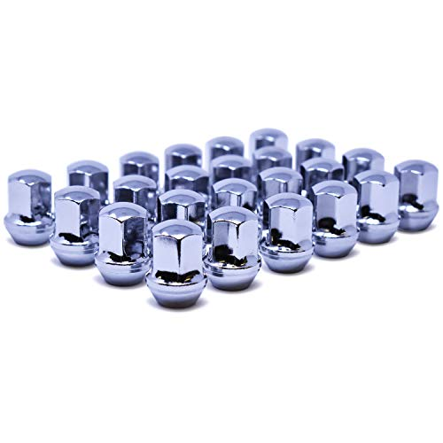 "Mastiff 2019, M14x1.5 Thread, Bulge Acorn Lug Nut Set, 7/8"" (22mm) Hex, Conical 60 Degree Seat, Triple Chrome Plating One-Piece (24 pk, Chrome)"