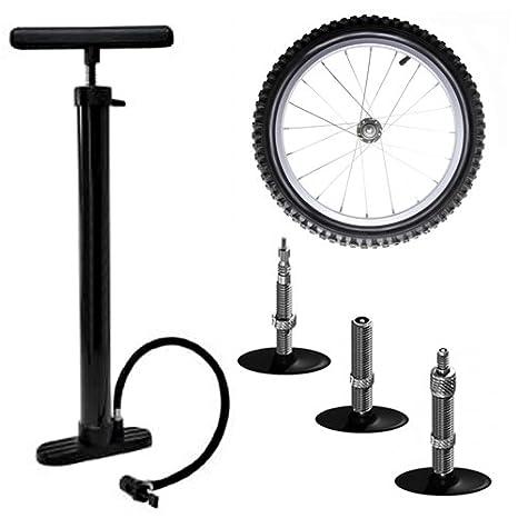 Amos - Bomba de mano con soporte para suelo (para inflar ruedas de bicicletas, sillas de paseo, cochecitos de bebé, sillas de ruedas, coche eléctrico, ...