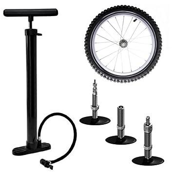Amos - Bomba de mano con soporte para suelo (para inflar ruedas de bicicletas,