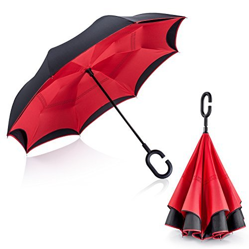 UnbreakableTravel Umbrella by Tooge for Car Use- Best Reversed Umbrella of UV Protection and Windproof-Double Layer Auto Inside-Out Folding Self-Standing for Women and Men