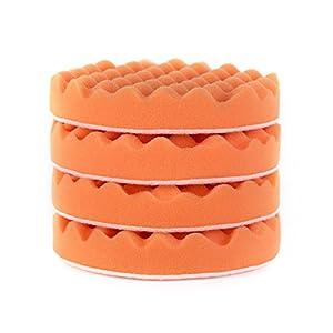 "Fasmov 6"" Heavy Cutting Pad Waffle Buffing Pads,Orange,Set of 4"