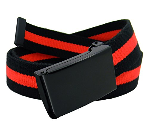 Women's Black Flip Top Military Belt Buckle with Canvas Web Belt XX-Large Black and Red Stripe