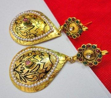 Maayra Women's Golden Bollywood Ethnic Wedding Festival Drops Earrings