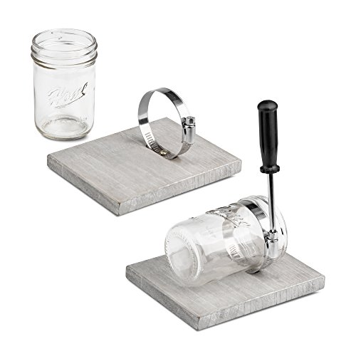 HOMKO Farmhouse Mason Jar Bathroom Kitchen or Office Wooden Decorations - Wall Hanging Mason Jar Decorative Accessories Set for Country, Western, Vintage, and Outhouse Style (Set of 2) (Rustic Gray)
