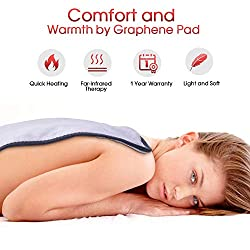 """Heating Pad, Far-lnfrared Heating Pads with Auto Shut Off, Ultra Soft Heat Pad with 3 Temperature Settings for Back Shoulder Pain Relief, Fast Heating with Graphene Heating Element 12""""x 24""""(Grey)"""
