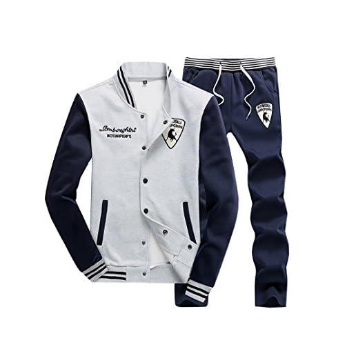 Hombre/Mujer Chándal 2 Piezas Conjuntos Traje Deportivo Manga Larga Sweatshirt + Pantalones Mnegro 5XL Spt4GxwjQ