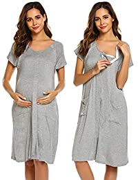 Ekouaer Maternity/Delivery/Nursing Labor Pregnancy Breastfeeding Delivery Gown Sleepwear for Mom