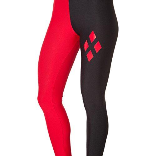Women's 3D Black Red Diamond Printed Punk Rock Full Length Leggings Red