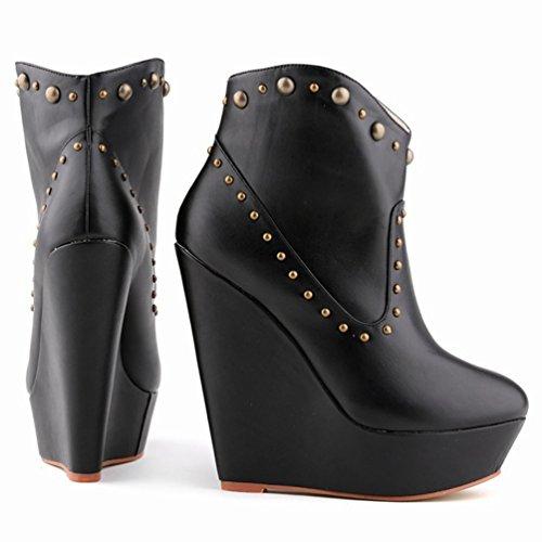 Boots Stivaletti Alta Scarponcini Moda Nero Autunno Donna PU Zeppa da Stivaletti WanYang Corti Moda qzHUE0