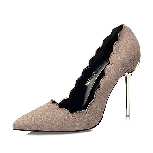 YMFIE Nuevo estilo europeo suede banquete sexy finas de metal con poca señaló zapatos de tacón señoras solo zapatos zapatos de trabajo,38 UE,caqui 38 EU