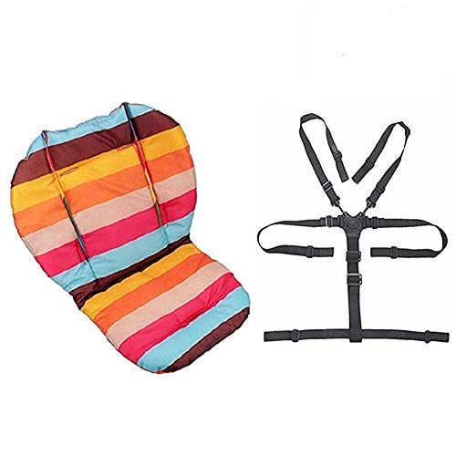 Twoworld Baby Stroller/Car / High Chair Seat Cushion Liner Mat Pad Cover Protector Rainbow Striped Water Resistant and High Chair Straps (5 Point Harness) 1 Suit